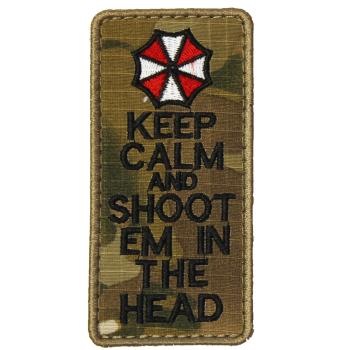 Vyšívaná nášivka Keep Calm and shoot em in the head
