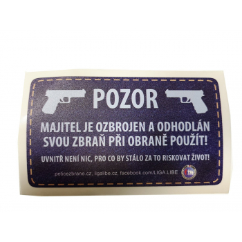 """Sticker """"Attention - the owner is armed"""""""