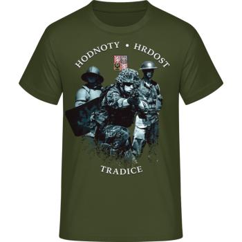 Pánské triko Armáda - historie, khaki, Forces Design