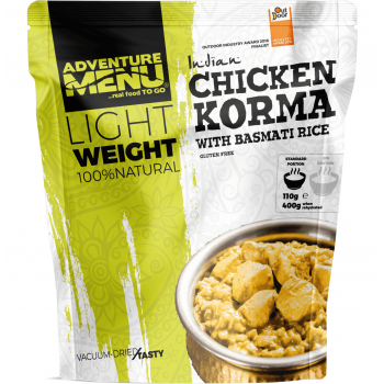 Vakuově sušené jídlo - Kuře Korma s rýží basmati – Lightweight, Adventure Menu