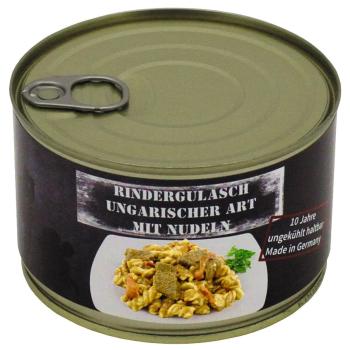 Vojenská konzerva - Maďarský hovězí guláš s těstovinami, 400 g, MFH