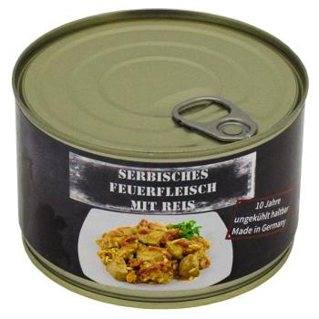 Vojenská konzerva - Srbské vepřové maso s rýží, 400 g, MFH