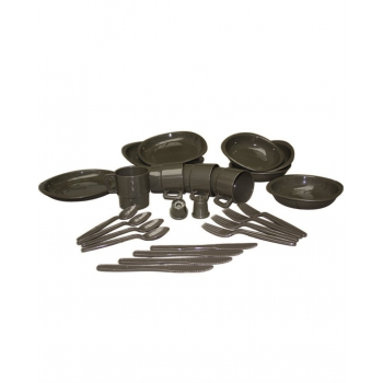 Camping Table Set, 26 pieces, olive, Mil-Tec