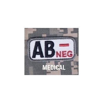 Vyšívaná nášivka , krevní skupina AB-, Mil-Spec Monkey