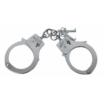 Handcuffs with lock, silver, Mil-Tec