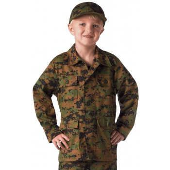 Kid's Digital Camo BDU Shirt, Woodland Digital, Rothco