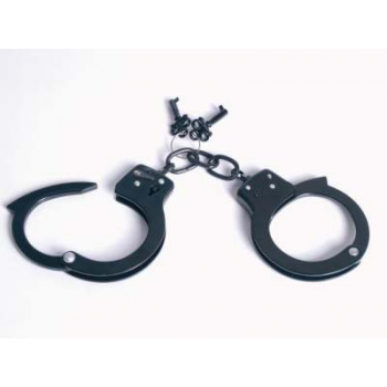 Handcuffs with lock, black, Mil-Tec