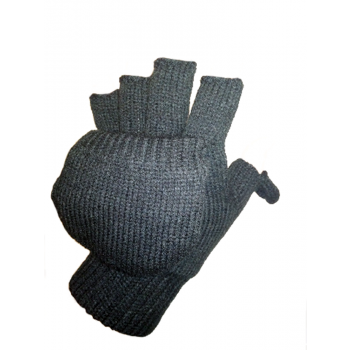 Knitted gloves with overlay, black, Mil-Tec