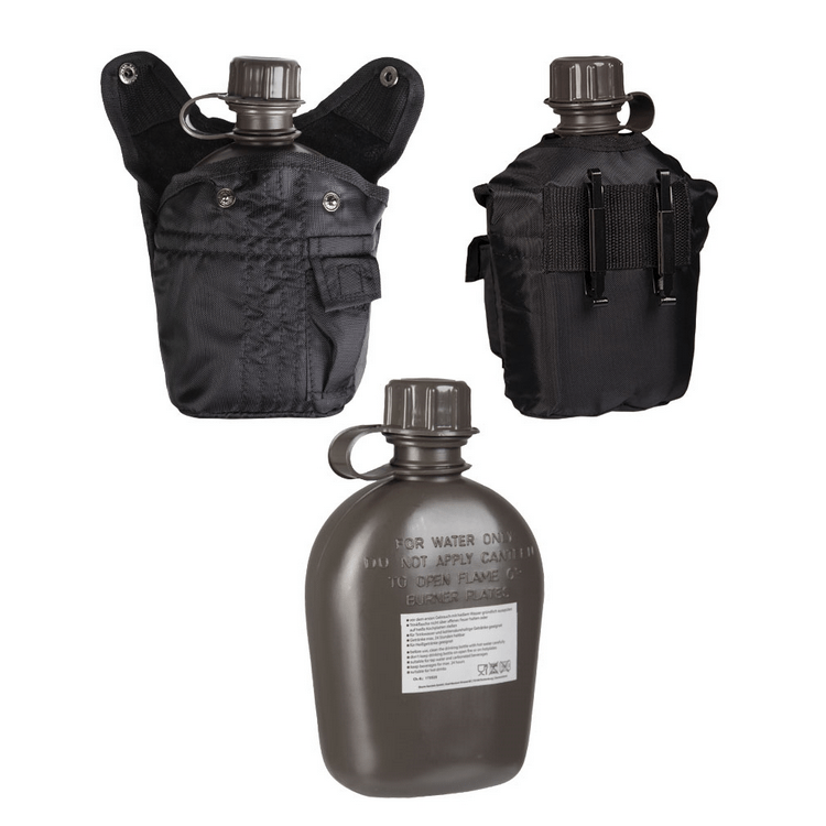 Polní láhev US s obalem, černá, 1 L, Mil-Tec - Polní láhev US s obalem, černá, 1 L, Mil-Tec