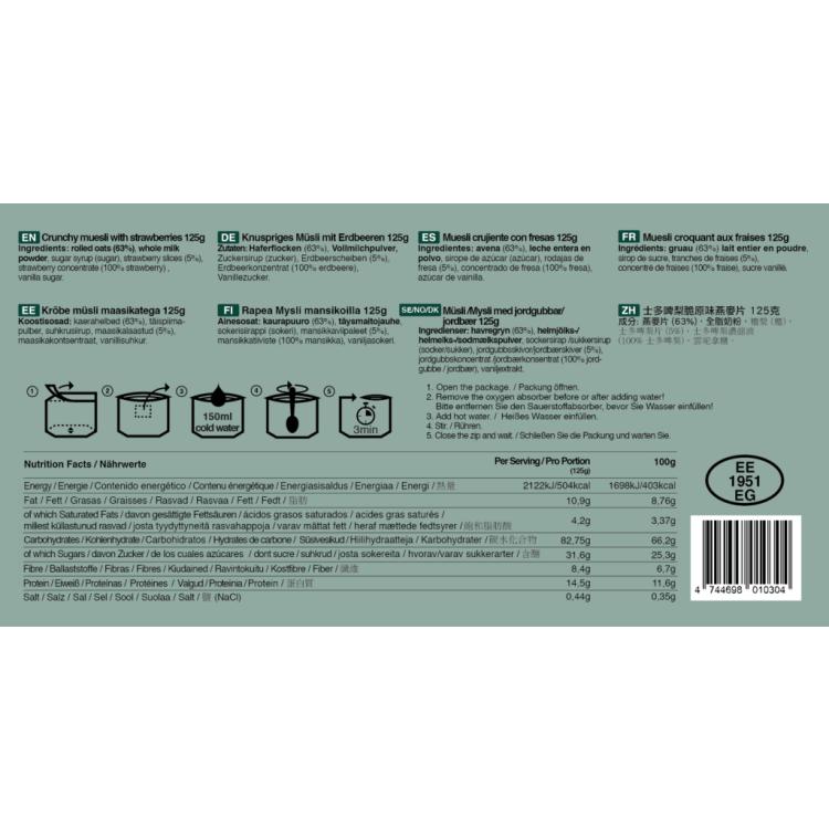 Křupavé müsli s jahodami, Tactical Foodpack