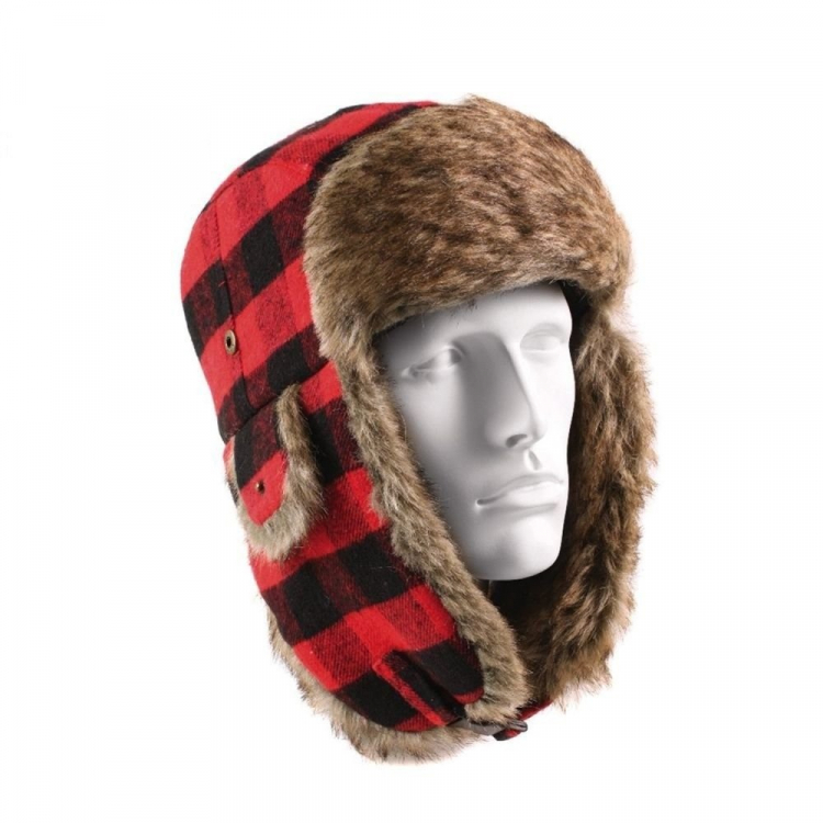 Fur Flyer´s Hat, Red-Black, Rothco