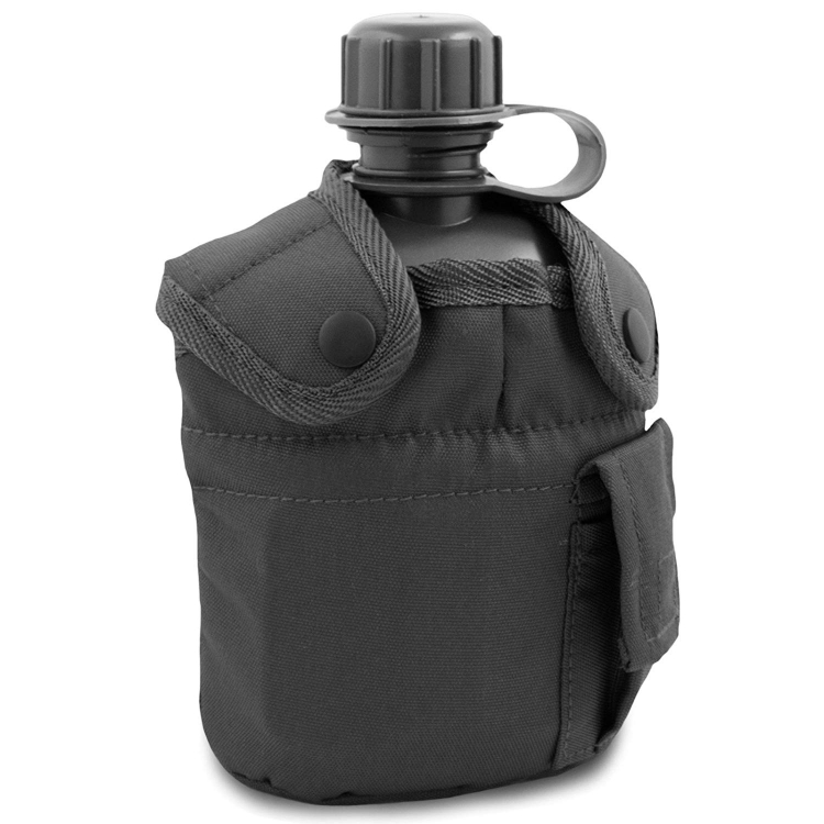 U.S. Army field bottle with case and drinker, Black, 1 L, Mil-Tec