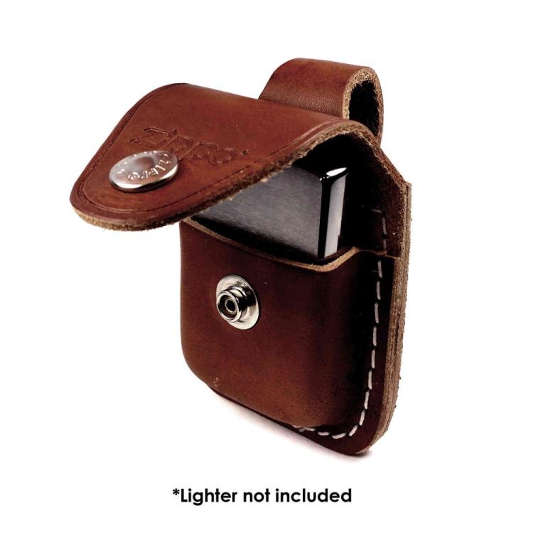 Leather Zippo lighter case, Brown, Zippo