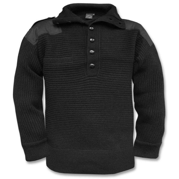 Men's knitted wool sweater Alpin, Mil-Tec, Black,