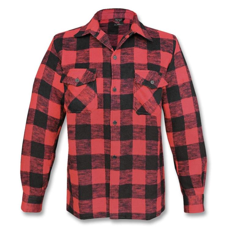 Men's Flannel Shirt, black-red, Mil-Tec