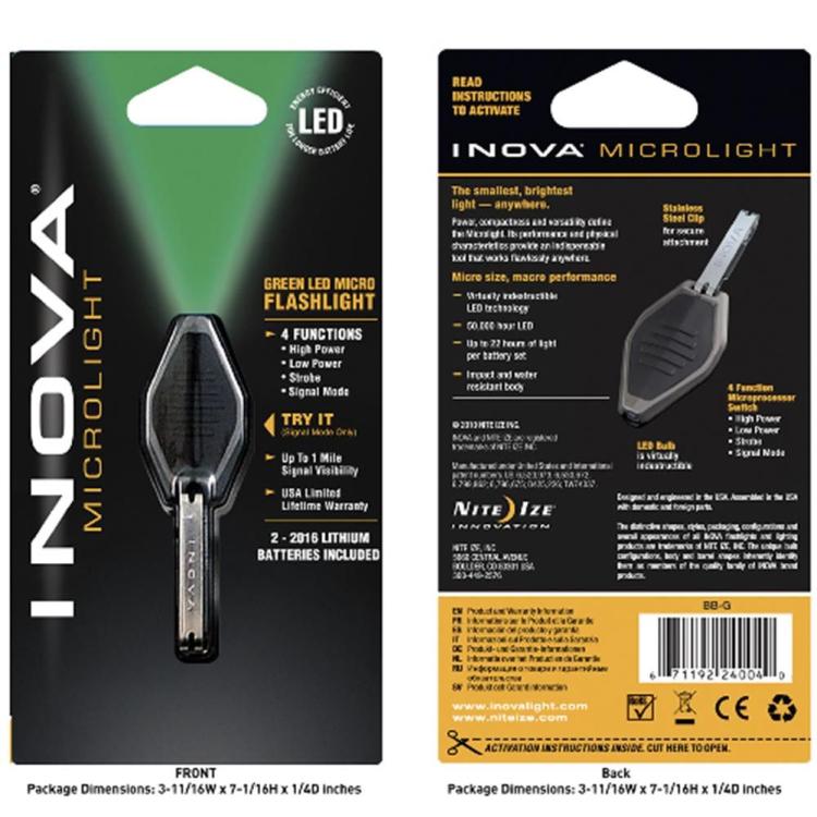 Inova LED Microlight flashlight - green light