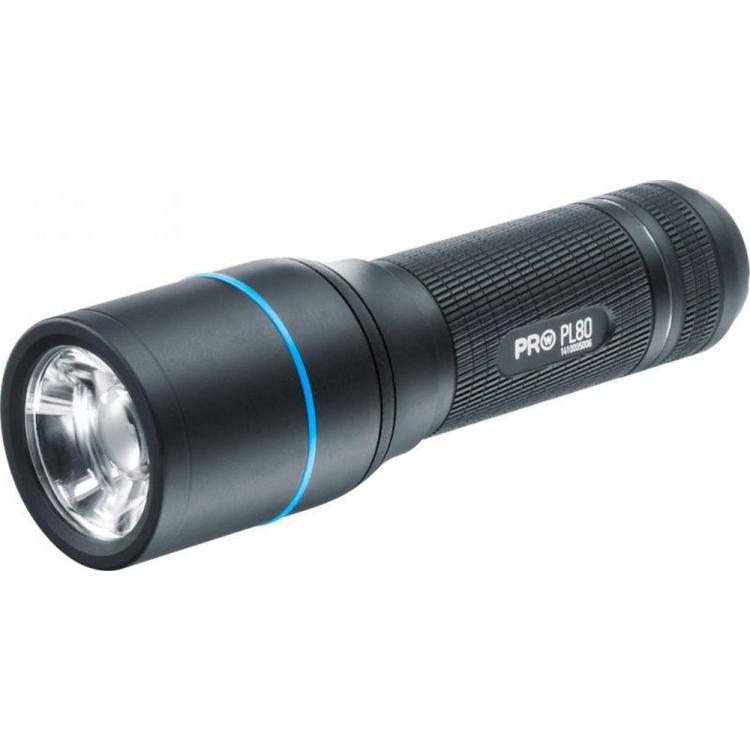 Walther PL80 flashlight, 535 lumens, 3 light levels, Tactical STROBE