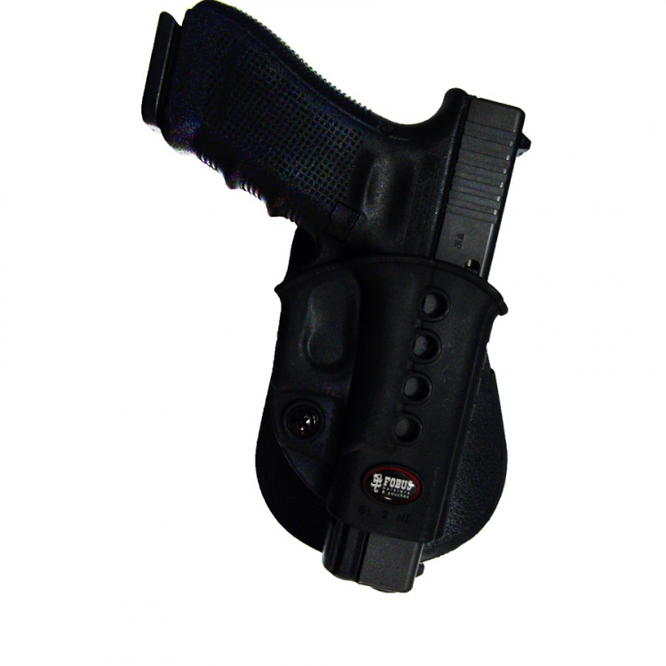 Glock 17 and Glock 19 pistol holster, rotary paddle, Fobus