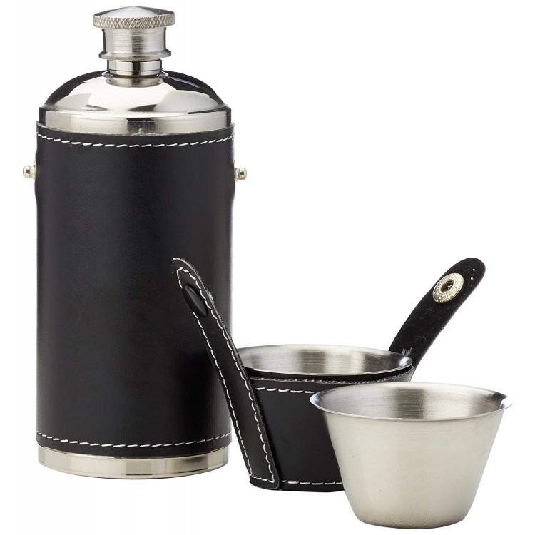 BasicNature Hip flask 'Hunter's', with 2 cups, 180 ml, Reliance