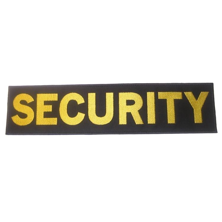 "Large applique ""Security"", on back"