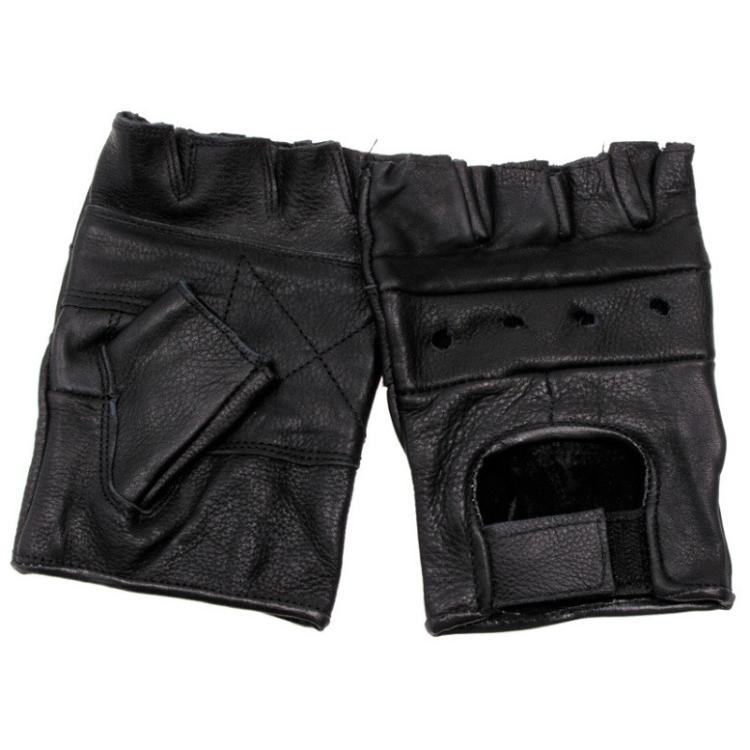 Biker fingerless gloves, leather, Mil-Tec