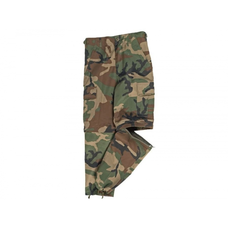 Children's trousers US Zip Off, woodland, Mil-Tec